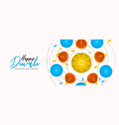 Happy diwali banner hindu diya flower candle vector