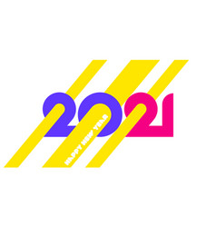happy new year 2021 logo with yellow beams vector image