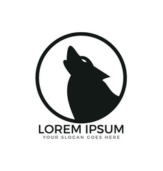 howling wolf circle shaped logo design vector image