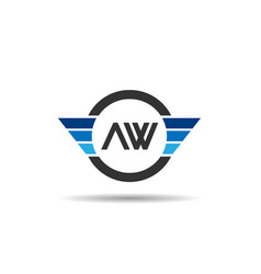 Initial letter aw logo template design vector