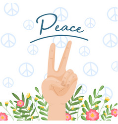 International peace sign hand gesture vector