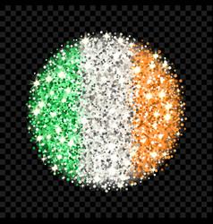 Ireland flag sparkling badge vector