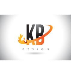 Kb k b letter logo with fire flames design vector