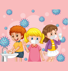 kids wearing medical mask with coronavirus icon vector image