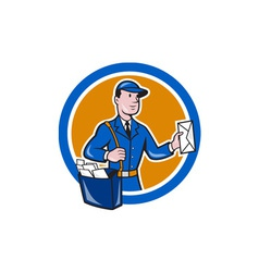 Mailman Postman Delivery Worker Circle Cartoon vector image