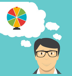man businessman thinks about wheel of fortune vector image