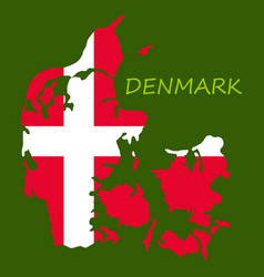 Map of denmark filled with flag of the state vector