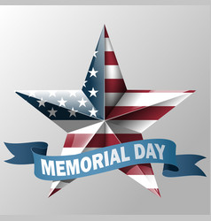 mem day with star in usa flag colors vector image