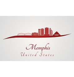 Memphis skyline in red vector image