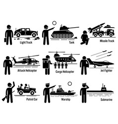 military vehicles army soldier transportation set vector image