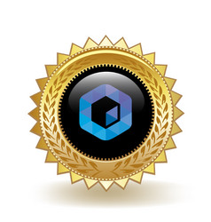 Neblio cryptocurrency coin gold badge vector