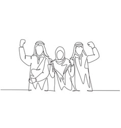 One single line drawing young happy muslim vector