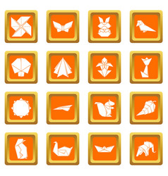 Origami icons set orange square vector