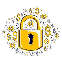 padlock lock surrounded by dollar money icons set vector image