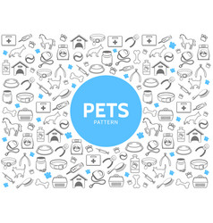 Pets line icons pattern vector