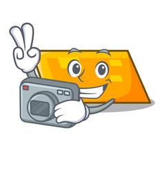 photographer parallelogram mascot cartoon style vector image