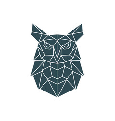 polygonal owl geometric pattern with wild bird vector image
