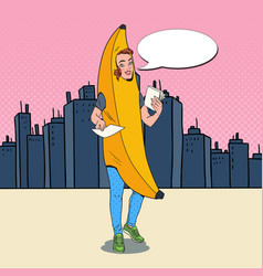 Pop art woman banana costume promoting something vector
