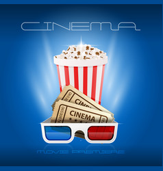 popcorn box cinema tickets and 3d glasses - movie vector image