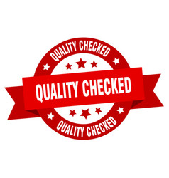 Quality checked ribbon quality checked round red vector
