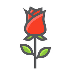 Rose flower filled outline icon valentines day vector