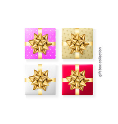 set 4 colorful gift boxes decorative presents vector image