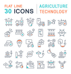 Set line icons agriculture technology vector