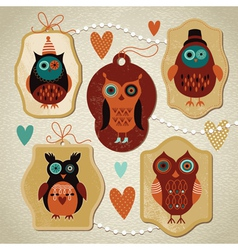 set vintage cute owls vector image