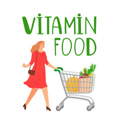 Shopping woman girl with cart vitamin vector