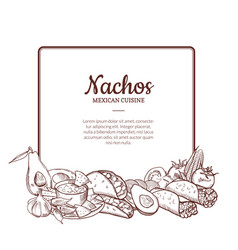 sketched mexican food elements vector image