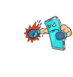 Smartphone boxer character internet aggression in vector