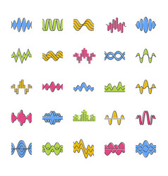Sound and audio waves color icons set music vector