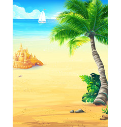 summer vacation with sun sea sky palm trees vector image