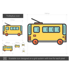 Trolleybus line icon vector