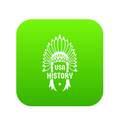 Usa history icon green vector