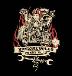 vintage motorcye club ride road vector image