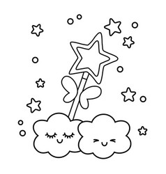 Wand with clouds black and white vector