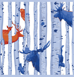 Wild forest animals hiding among birch trees vector