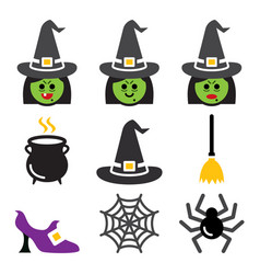 Witch character halloween icons set vector