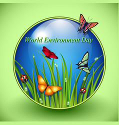 World environment day sign on green background vector