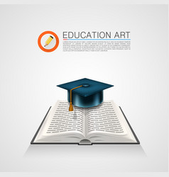 book with a cap art sign vector image