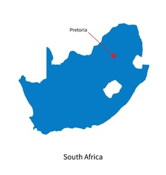 Detailed map of South Africa and capital city vector image vector image
