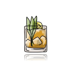 Glass with cocktail sketch for your design vector image vector image