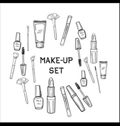 hand drawn beauty and makeup icons set vector image