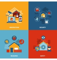 Home security 4 flat icons square vector image vector image