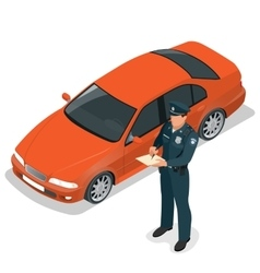 Policeman writing speeding ticket for a driver vector image