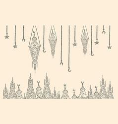 ramadan celebration vintage card vector image