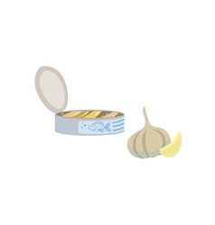 Sardines garlic and lemon bright color isolated vector