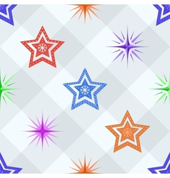 Seamless background stars on a checkered vector image vector image