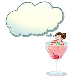 A happy little girl above the wine glass vector image